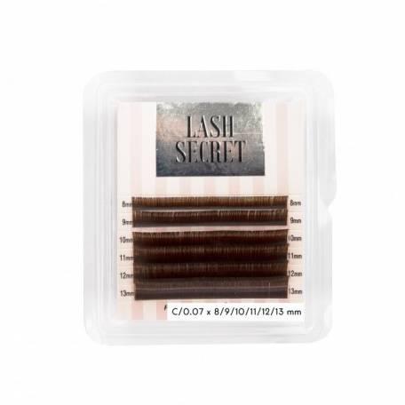 Купить Ресницы для наращивания Lash Secret mini коричневые (8-13) 0.07 мм