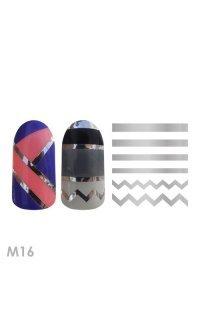 Металлизированные наклейки для ногтей Adore M16 (линия-зигзаг серебро)