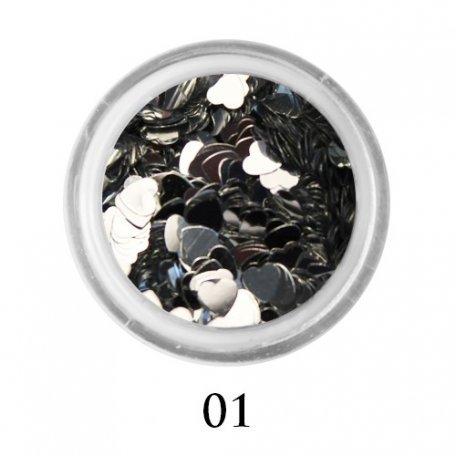 Конфетти для декора ногтей - Блестки сердечки Adore 3 мм №01