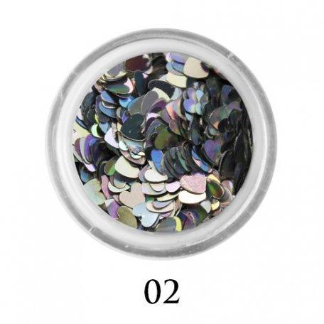 Конфетти для декора ногтей - Блестки сердечки Adore 3 мм №02