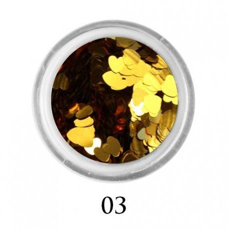Конфетти для декора ногтей - Блестки сердечки Adore 3 мм №03