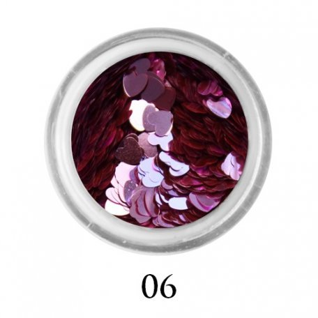 Конфетти для декора ногтей - Блестки сердечки Adore 3 мм №06