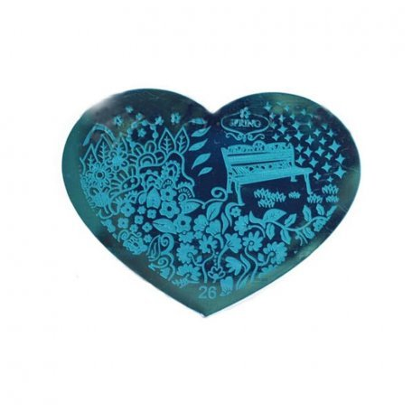 Пластина-трафарет для стемпинга YRE №26 металл, сердце