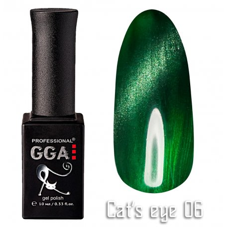 Гель-лак GGA Cat's eye №006 (Зеленый), 10 мл
