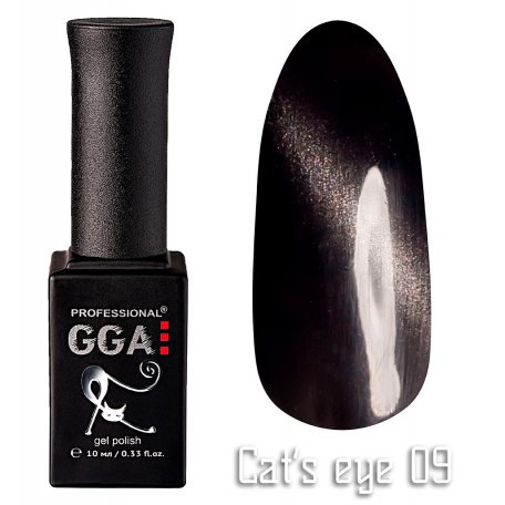 Гель-лак GGA Cat's eye №009 (Черный), 10 мл