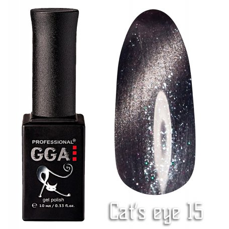 Гель-лак GGA Cat's eye №015 (Серый), 10 мл