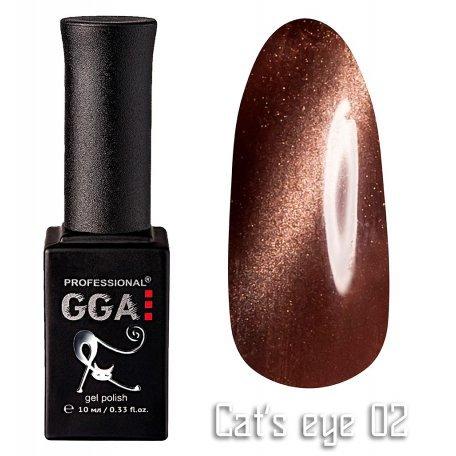 Купить Гель-лак GGA Cat's eye №002 (Коричневый), 10 мл