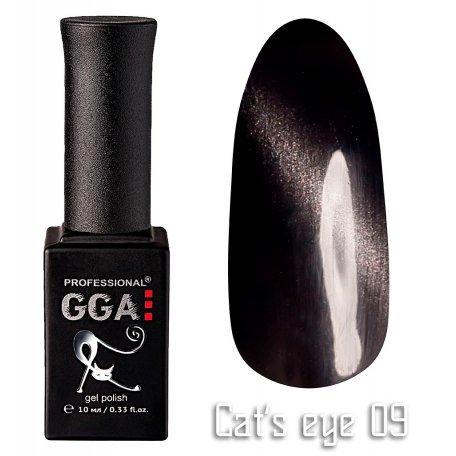 Купить Гель-лак GGA Cat's eye №009 (Черный), 10 мл