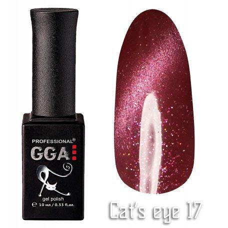 Купить Гель-лак GGA Cat's eye №017 (Вишневый с перламутром), 10 мл