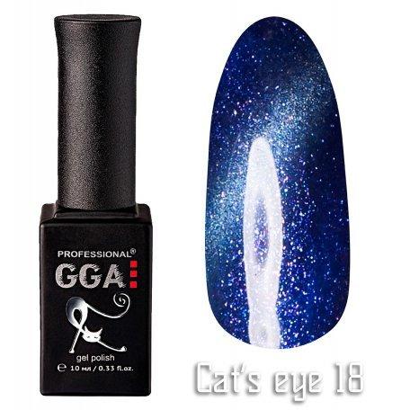 Купить Гель-лак GGA Cat's eye №018 (Синий с перламутром), 10 мл