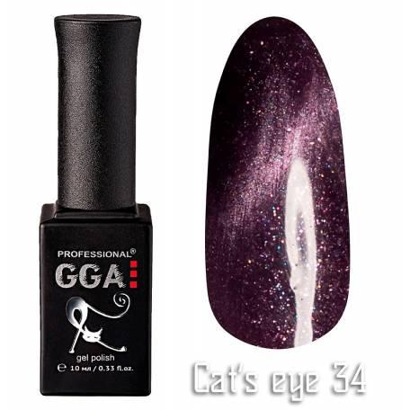 Купить Гель-лак GGA Cat's eye №034 (Фиолетовый с перламутром), 10 мл