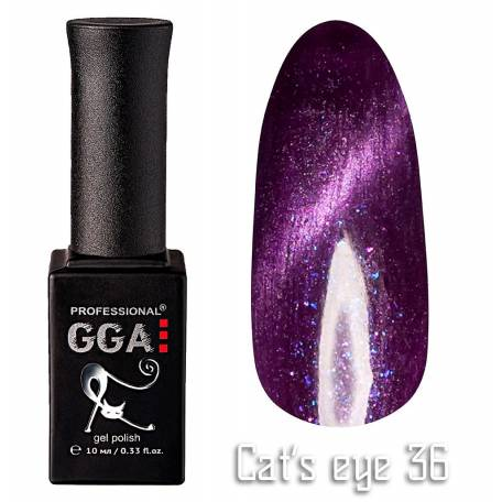 Купить Гель-лак GGA Cat's eye №036 (Темно-фиолетовый с перламутром), 10 мл