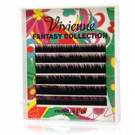 Купить Двухцветные ресницы для наращивания Vivienne Fantasy Collection Черный/Малиновый (8-13) 0.1 мм