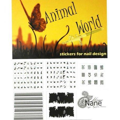"""Трафареты для аэрографии - Трафареты-наклейки для nail-art """"Животный мир"""""""