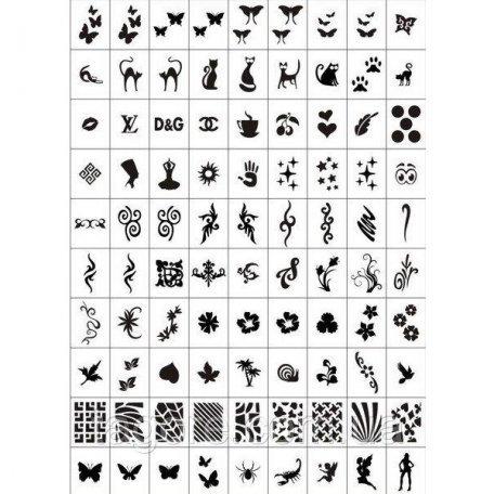 Трафареты для аэрографии - Набор трафаретов-наклеек для nail-art №4