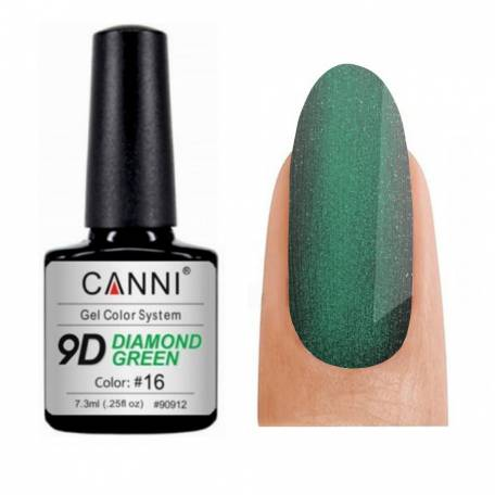 Купить Гель-лак Canni 9D Diamond Green 016, 7,3 мл