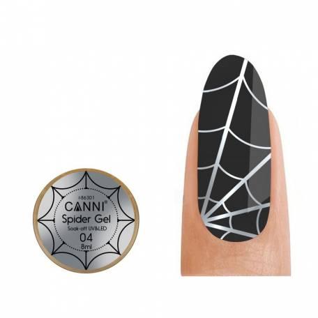 Купить Гель-паутинка Canni Spider Gel / 3D Embossing gel - 04 серебро 8 мл