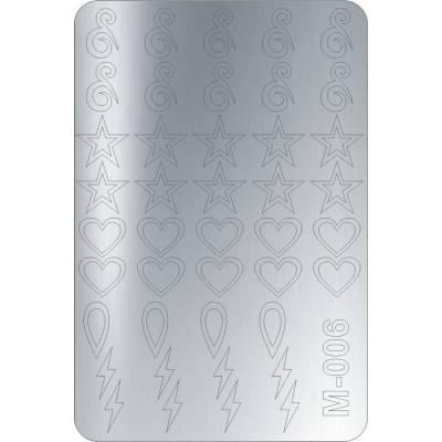 Металлизированные наклейки для ногтей Canni 006 (серебро)