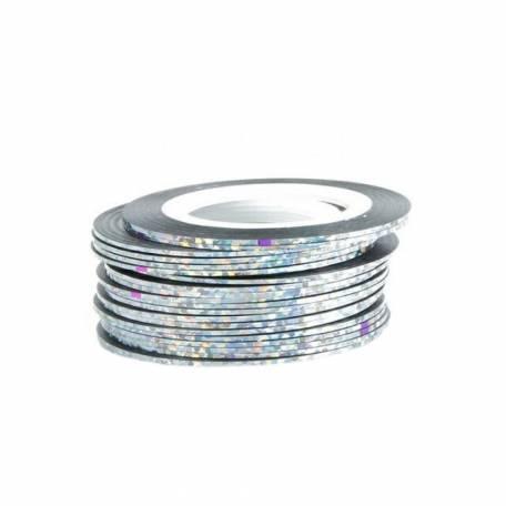 Купити Стрічка для дизайну нігтів Нитка-фольга Y. R. E. срібло голографічне