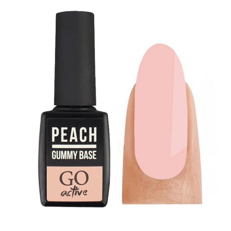Купить База камуфлирующая каучуковая для гель-лака GO Active Gummy Base Coat №04 Peach 10 мл