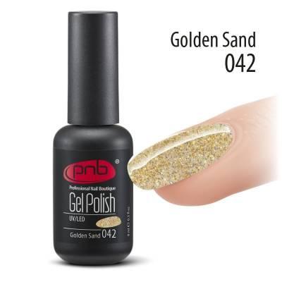 Гель-лак PNB 042 Gold Sand (Золотой с голографическими блестками), 8 мл