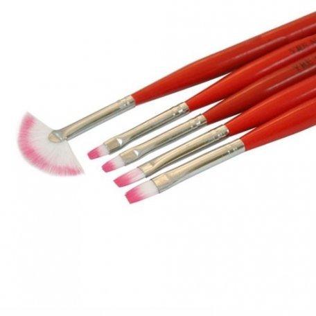 Набор кистей для геля и дизайна 5 шт. (красные) купить интернет-магазине Nailsmania.ua с бесплатной доставкой по Украине.