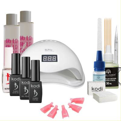 Набор гель-лаков Kodi Professional с UV-LED лампой Sun 5 48 Вт (со вспомогательными жидкостями Oh! La Lac)
