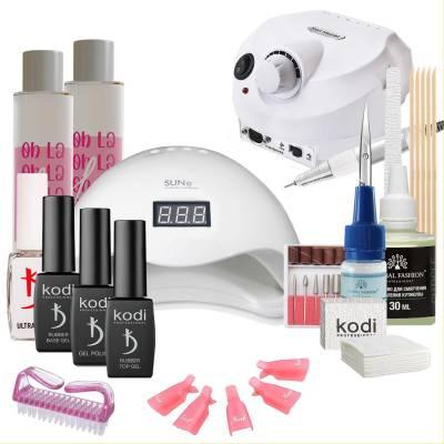 Набор гель-лаков Kodi Professional с UV-LED лампой Sun 5 48 Вт и фрезером Drill Pro (со вспомогательными жидкостями Oh! La Lac)