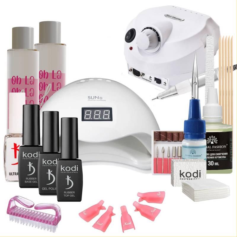 Купить Набор гель-лаков Kodi Professional с UV-LED лампой Sun 5 48 Вт и фрезером Drill Pro (со вспомогательными жидкостями Oh! La Lac)