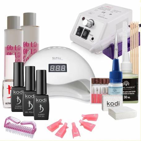 Купить Набор гель-лаков Kodi Professional с UV-LED лампой Sun 5 48 Вт и фрезером Lina Mercedes (со вспомогательными жидкостями Oh! La Lac)