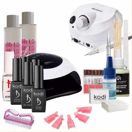 Купить Набор гель-лаков Kodi Professional с UV-LED лампой Sun BQ-5T 120 Вт и фрезером Drill Pro (со вспомогательными жидкостями Oh! La Lac)