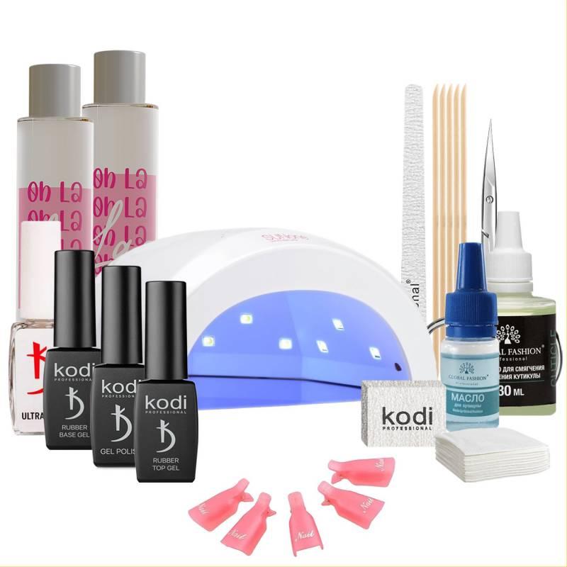 Купить Набор гель-лаков Kodi Professional с UV-LED лампой Sun One 48 Вт (со вспомогательными жидкостями Oh! La Lac)