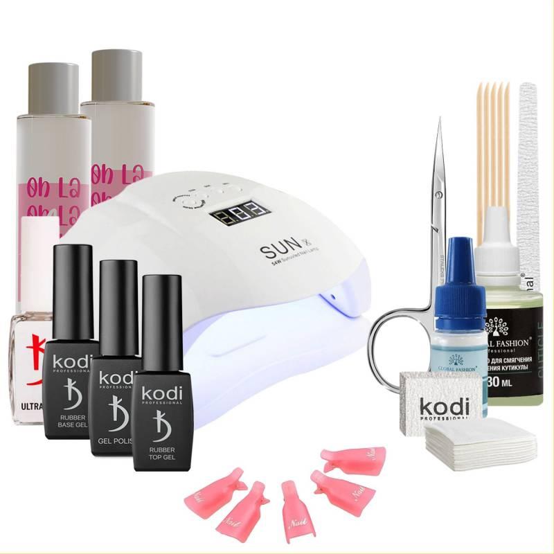 Купить Набор гель-лаков Kodi Professional с UV-LED лампой Sun X 54 Вт (со вспомогательными жидкостями Oh! La Lac)
