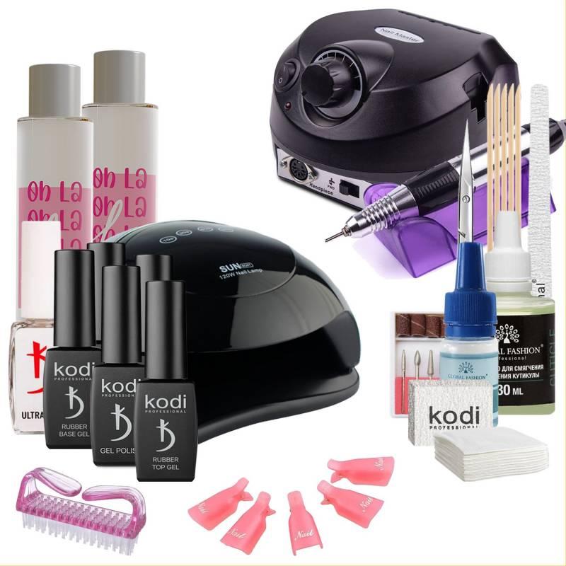 Купить Набор гель-лаков Kodi Professional с UV-LED черными лампой Sun BQ-5T 120 Вт и фрезером Drill Pro (со вспомогательными жидкостями Oh! La Lac)