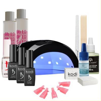 Набор гель-лаков Kodi Professional с черной UV-LED лампой Sun One 48 Вт (со вспомогательными жидкостями Oh! La Lac)