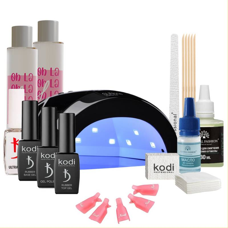 Купить Набор гель-лаков Kodi Professional с черной UV-LED лампой Sun One 48 Вт (со вспомогательными жидкостями Oh! La Lac)