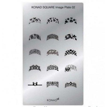 Стемпинг пластины Konad - Мини пластина для стемпинга Konad 02