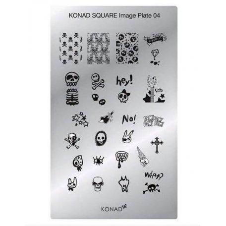 Стемпинг пластины Konad - Мини пластина для стемпинга Konad 04