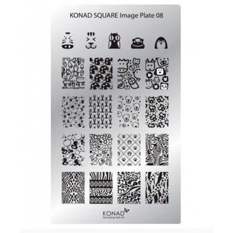 Стемпинг пластины Konad - Мини пластина для стемпинга Konad 08
