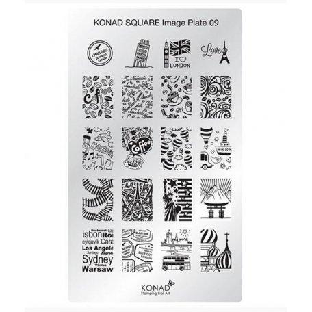 Стемпинг пластины Konad - Мини пластина для стемпинга Konad 09