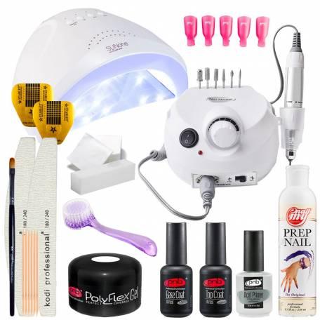 Купить Набор для наращивания ногтей полигелем PNB с UV/LED лампой Sun One 48 Вт и фрезером для маникюра Drill Pro