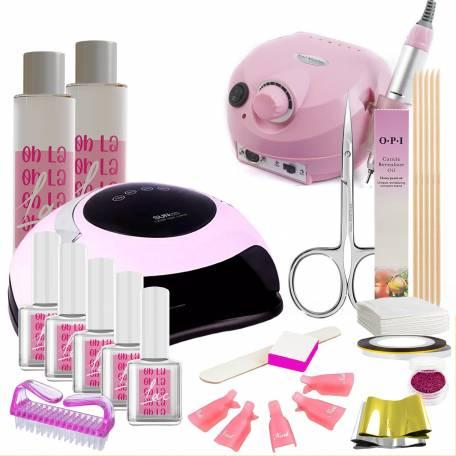 Купить Набор гель-лаков Oh La Lac с розовыми лампой Sun BQ-5T 120 Вт и фрезером Drill Pro