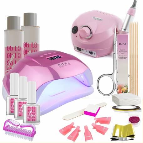 Купить Набор гель-лаков Oh La Lac с зеркально розовой лампой Sun X 54 Вт и розовым фрезером Drill Pro