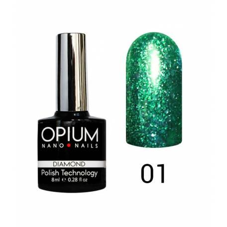 Купити Гель-лак Opium Diamond №001 8 мл (зелений з блискітками)