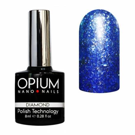 Купити Гель-лак Opium Diamond №002 8 мл (Синій з блискітками)