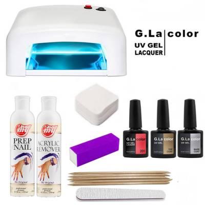 Стартовый набор гель лаков G.la Color Стандарт (с УФ лампой 36w)