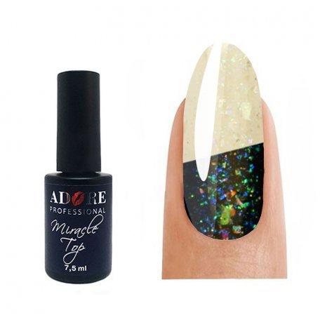 Купити Гель-лак ADORE Miracle Top верхнє покриття з шиммером без липкого шару №02, 7,5 мл