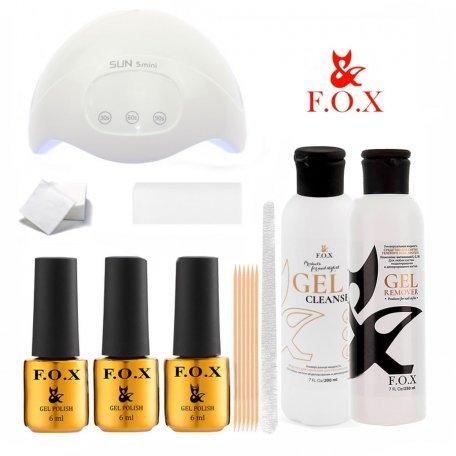 Стартовый набор гель-лаков F.O.X (с LED лампой SUN 5 mini)