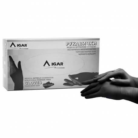 Купити Рукавички нітрилові IGAR чорні (без пудри, нестерильні S, M, L) 200 шт
