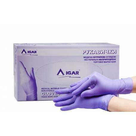 Купити Рукавички нітрилові IGAR темно-фіолетові (без пудри, нестерильні L) 200 шт